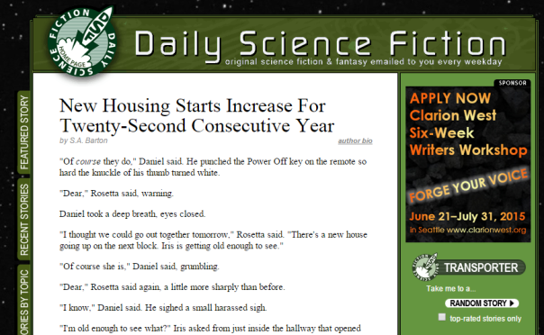 Daily Science Fiction New Housing Starts Increase For Twenty Second Consecutive Year by S.A. Barton