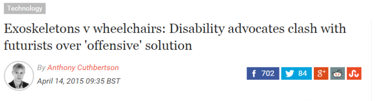 Exoskeletons v wheelchairs  Disability advocates clash with futurists over  offensive  solution