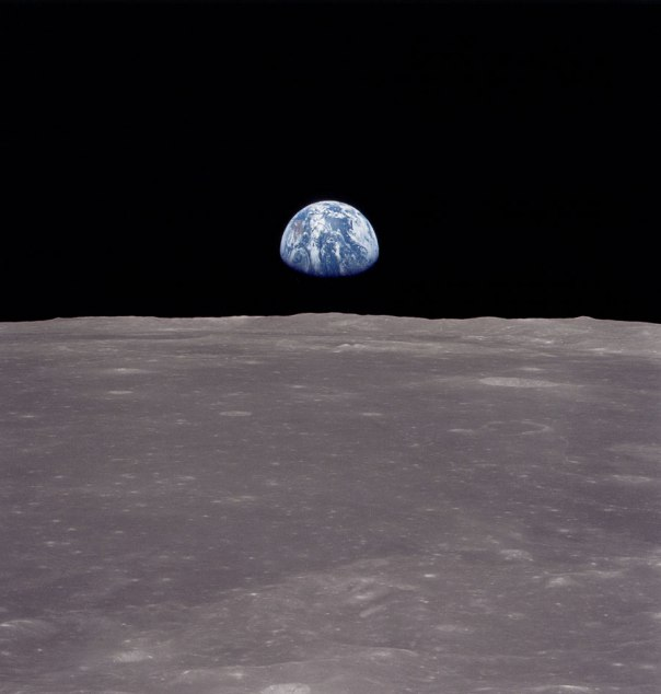Earth from moon Apollo 11 photo AS11-44-6551