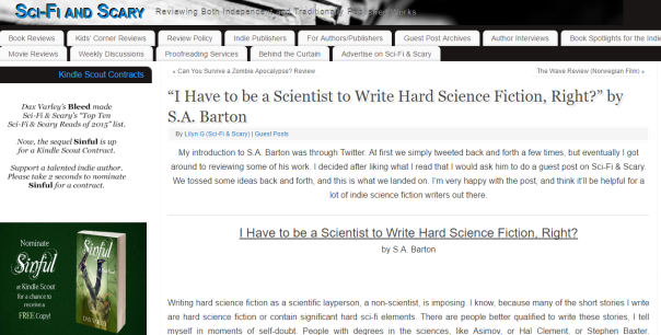 -I Have to be a Scientist to Write Hard Science Fiction  Right   by S.A. Barton   Sci Fi and Scary