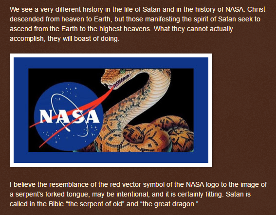 parablesblog  The Spirit of Anti Christ Revealed in NASA --bag of luddite flatearther head-in-sand