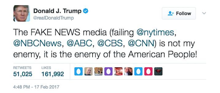 YOUR FIRST AMENDMENT RIGHTS ARE THE ENEMY OF THE PEOPLE - PRESIDENT DONALD J TRUMP